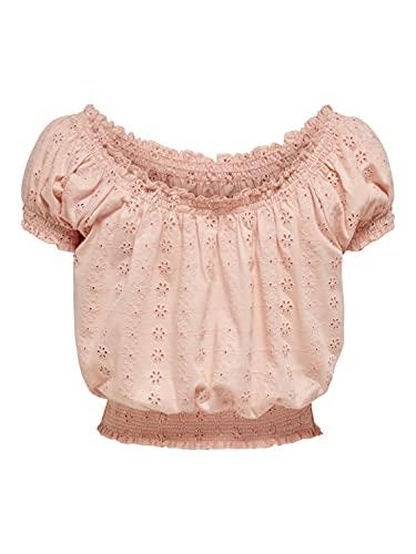ONLY Damen Top Blusen Shirt OnlNila Smock Crop Oberteil Stickerrein Lochmuster, Farbe:Rosa, Größe:XS