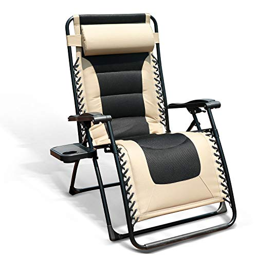 GOLDSUN Oversized Padded Zero Gravity Reclining Chair Adjustable Patio Lounge Chair with Cup Holder for Outdoor Beach Porch,Swimming Pool (Beige)