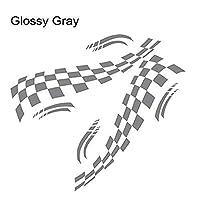 HXKGSMG カーファッションデカールステッカーカバーキズ6ピースレーシングキャンピングカー車のボディ装飾ステッカーグラフィック高品質のKK素材ストライプキャンピングカーRVデカールバンホースボックスキャラバンステッカーアクセサリー (Glossy Gray,all size)