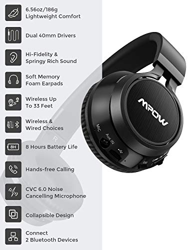 Mpow Thor Bluetooth Headphones On Ear, 40mm Driver Wireless Headset Foldable with Mic, Wired and Wireless Headphones for Cell Phone/ TV/ PC