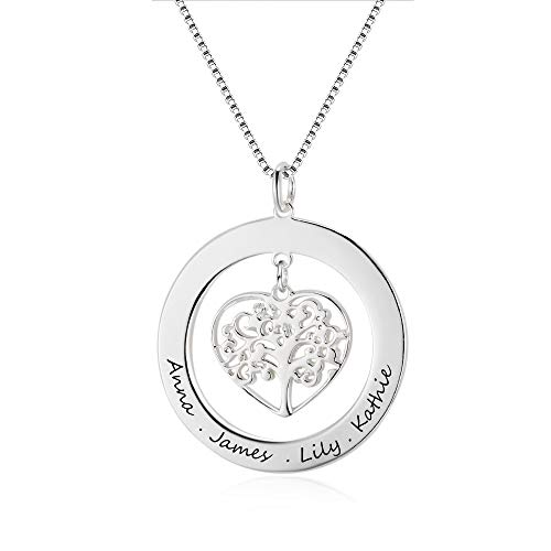 Grand Made personalised name necklace, 925 Sterling Silver Tree of Life Pendant with Engraving, Gift for Mum or Grandma, Ladies Jewellery, customisable