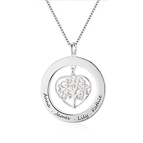 Grand Made Personalizzato Nome Collana in 925 Sterling Argento con Ciondolo Albero della Vita con Regalo inciso per Signore o Donna della Nonna