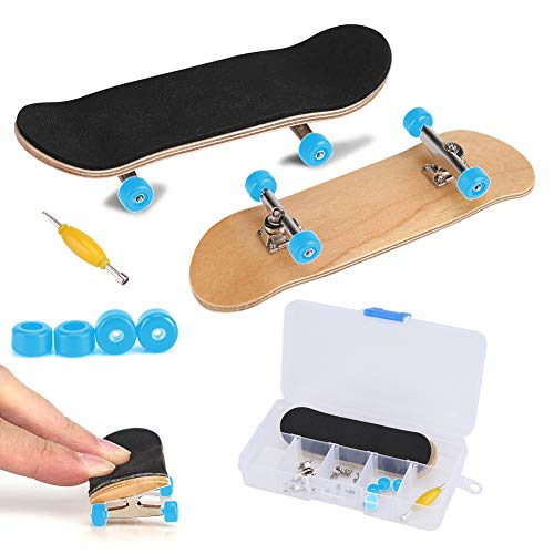 Griffbrett Fingerskateboards, Professionelle Mini-Legierung Komplettes Holzahorn-Deck-Set Interaktives Spiel Kindergeschenke(Hellblau)