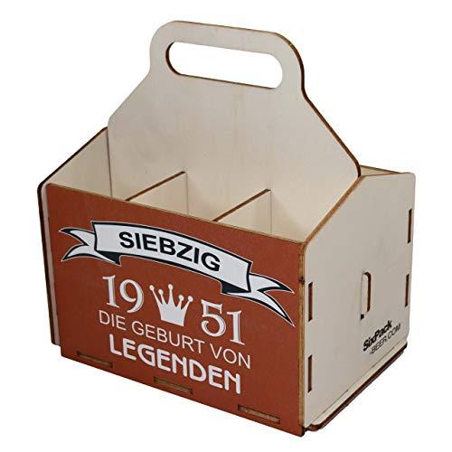 Bierträger aus Holz, Sixpack Bier, 6er Träger, Bier-Sechserträger, Biergeschenk, Geburtstag 70 Jahre, Geburtstagsgeschenk für Männer, 70 Jahre, Gravur, Druck, Holz, 70. Geburtstag, 1951, Vatertag