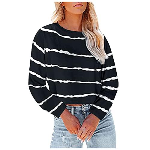 Camiseta de manga larga para mujer con cuello redondo y cuello redondo y manga larga, estilo informal, estilo túnica, de estilo vintage, Negro , L