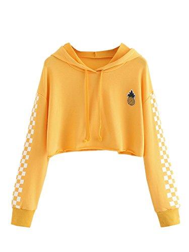 MakeMeChic Women's Pineapple Embroidered Hoodie Plaid Crop Top Sweatshirt Yellow Small