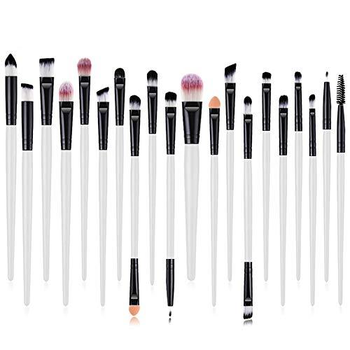 Cosanter 20er Set Make-up Kosmetik Pinsel-Set Auge Lidschattenpinsel Powder Foundation Wimpernbürste Pinsel für Damen Mädchen, Plastik, Weiß, 15 cm