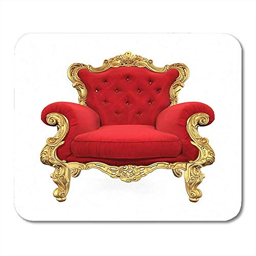 Muismat Rood Koning Troon Stoel Rendering Royal Golden Armchair Sofa Mouse pad 25X30cm