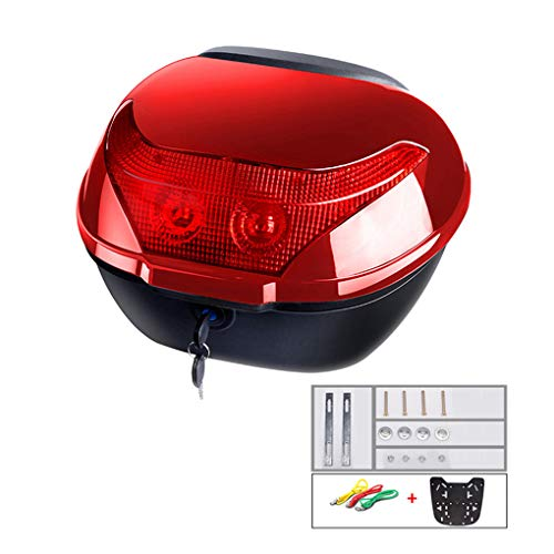 YZJJ Motocicleta Tour Tail Box Scooter Trunk Equipaje Top Lock Storage Carrier Case con cómodo Respaldo - Puede almacenar (1) Casco Completo
