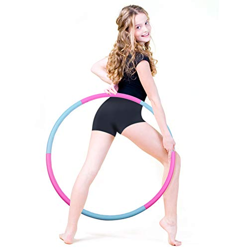 liberry Kids Exercise Hoop, Detachable & Size Adjustable Toy Hoop, Professional Hoola Rings for Kids Blue, Pink