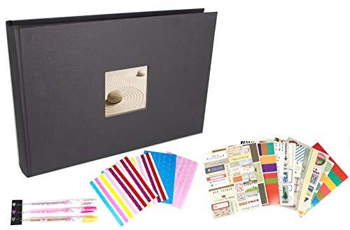 SFL+ Present Album Fotografico - Album Fotografico Scrapbooking - Album Fotografico 80 Pagine Nero - Kit Scrapbooking Incluso - Libro degli Ospiti - Album Fotografico 31x22
