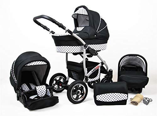Kinderwagen 3in1 2in1 Set Isofix Buggy Babywanne Autositz New L-Go by SaintBaby Schwarz & Weiße Punkte 3in1 mit Babyschale