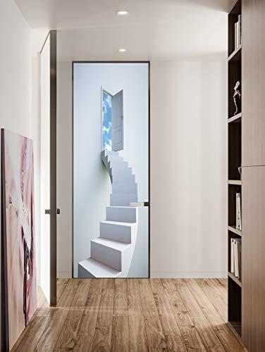 FLFK 3D Weiß Spiral Treppe Türtapete Wandbilder Selbstklebend Tür Poster Vinyl Entfernbar Mauer Aufkleber Zuhause Dekor 30.3Zoll x78.7 Zoll