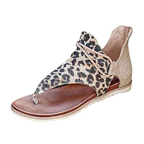 Yesgirl Damen Leopard Sommer Sandalen Bequeme Schlangenmuster Strand Sandalen Frauen Elegante Sandaletten Zebra Strand Schöne