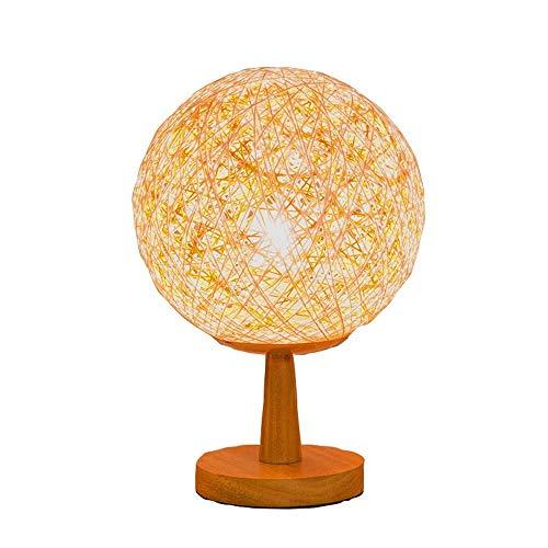 Modern Eenvoud Bedside LED Night Light, Hout Rattan Twine Ball Lights, Room Art Decor Desk Licht, for Bedroom Living Room
