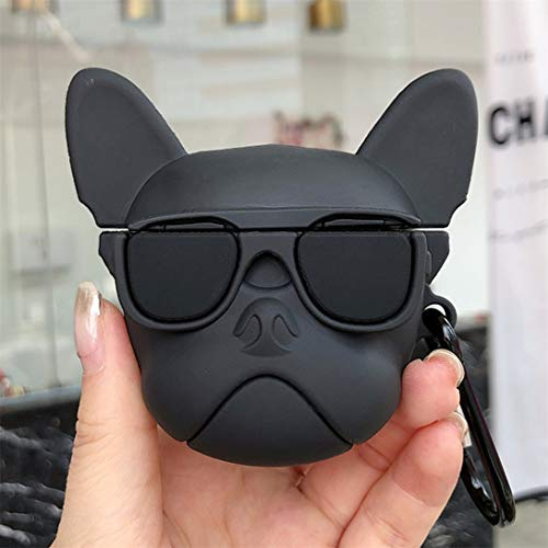 Punswan for Airpods 1&2 Case Buckle Holder,Cute 3D Cartoon Character Soft Silicone Animal Catalyst Cover,Fashion Fun Cool Keychain Funny Design Skin,Cases for Girls Kids Boys Air pods(Black Glass Dog)