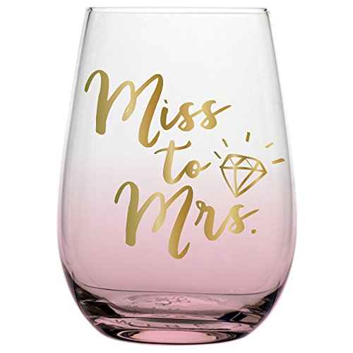 Slant 10-04831-013 Miss to Mrs Stemless Wine Glass Wedding or Engagement for the Bride with Gold Lettering, 20 Ounce, Clear