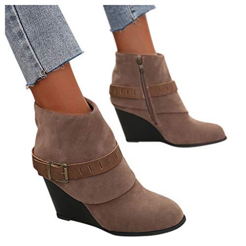 ZYAPCNGN Womens Belt Buckle Party Wedges Boots Oversized Thick Heel Zipper Ankle Booties Zip up Wedding Shoes Booties Beige