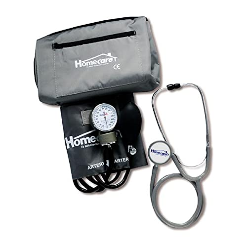 Homecare Kit Baumanómetro con Estetoscopio Doble- Gris 100% Preciso con Estuche Portátil