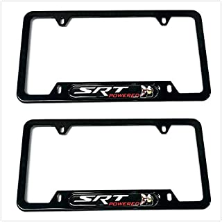 1 Mesport Carbon Fiber Style Stainless Steel Rust Free License Plate Cover Frames Holder with Screw Caps for Cadillac