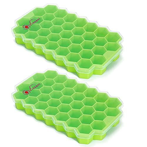 Vinsani 2er Pack Eiswürfelform Hexagon Tray mit transparentem abnehmbarem Deckel Leicht Release Silikon Flexible Eiswürfelformen LFGB Zertifiziert und BPA Frei Stapelbar Langlebig - Grün