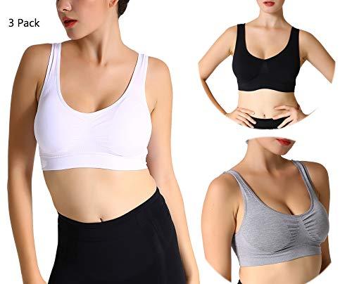 JOJOANS 3er Pack Sports BH Bralette Die ultimative Komfort-BH gepolstert Nahtlose Stretch Action Freizeit hochwertige Unterwäsche (Weiß+Schwarz+Licht Grau, L)