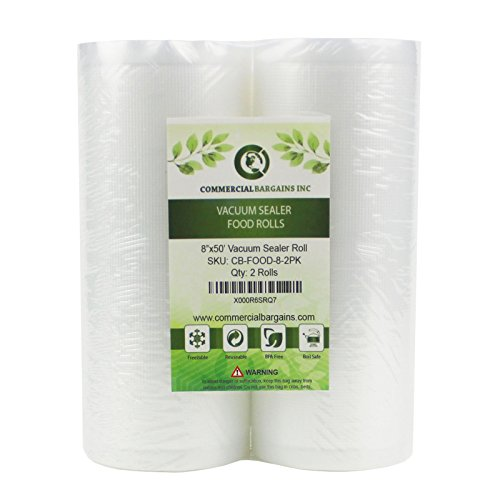Commercial Bargains 2 Large 8' x 50' Vacuum Saver Rolls Commercial Grade for Foodsaver Sealer Bags...