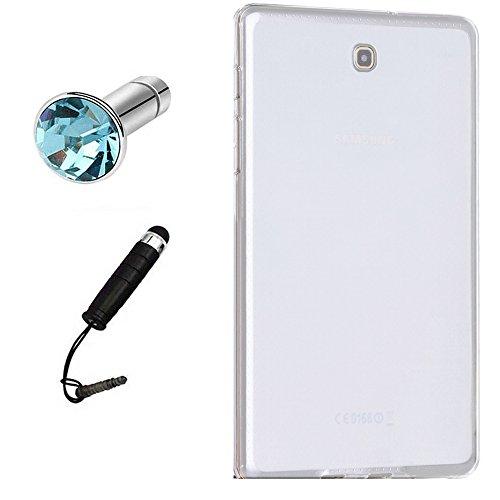 Lusee - Cover protettiva in silicone TPU per Samsung Galaxy Tab S2 T710 / T715 8.0, con pennino capacitivo e protezione antipolvere, colore: Bianco semitrasparente