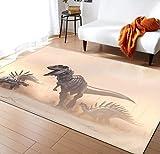 Alfombra Infantil Vintage Manta De Dinosaurio Suave Poliéster Sala De Estar Dormitorio De Bebé Piso Almohadilla De Juego 120cmx170cm