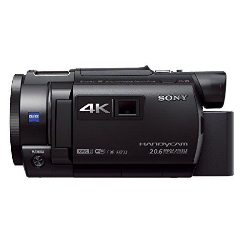 Sony FDR-AXP33 Videocamera Handycam 4K Ultra HD, Sensore CMOS Exmor R da 7,76 mm retroilluminato, Obiettivo ZEISS Vario-Sonnar T* con Zoom Ottico 10x, Proiettore integrato, Nero