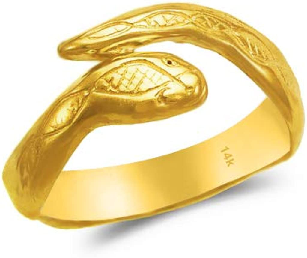 14k Gold Toe Rings - Adjustable Snake Knuckle Gift Jewelry for Women and Her