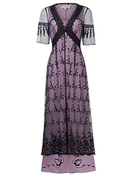 Belle Poque Vintage V-Neck Sheer Sleeves Dress Victorian Edwardian Titanic Dress Renaissance Costume S Black