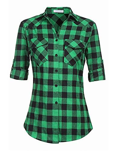 UNibelle Kariertes Hemd Damen Langarm Karohemd Bluse Damen Baumwolle mit Einstellbare Ärmeln(Grün,L)