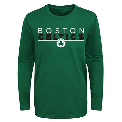 Outerstuff NBA Youth Boys (8-20) Tactical Stance Long Sleeve Performance Tee, Boston Celtics Large (14-16)