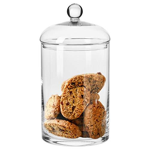 Krosno Große Bonboniere Glas Keksdose Glasgefäß Bonbon-Gläser mit Deckel | 2700 ML | 310 mm Hoch & 150 mm Durchmesser | Kollektion Glamour | Perfekt für Hause Restaurants Partys | Spülmaschinenfest