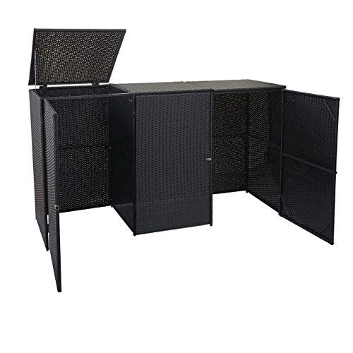 *Mendler 3er-Mülltonnenverkleidung HWC-E25, Mülltonnenbox Mülltonnenabdeckung, Poly-Rattan 3x120l – schwarz*