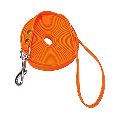 Schecker Biothane Schleppleine orange Fährtenleine Mantrailing Übungsleine Hundeleine mit Handschlaufe, 10 m / 9 mm