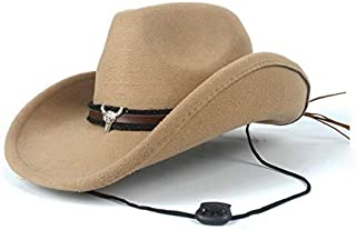 PANFU-AU Men Women Winter Casual Wild Hat Fashion Wool Western Cowboy Hat with Cow Head Band Church Hat (Color : Khaki, Size : 56-58)
