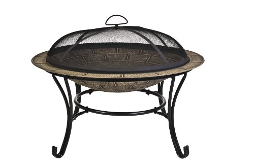 : CobraCo FB6102 Round Cast Iron Brick Finish Fire Pit with Screen and Cover