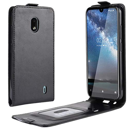 HualuBro Nokia 2.2 Hülle, Leder Brieftasche Etui LederHülle Tasche Schutzhülle HandyHülle Handytasche Leather Flip Hülle Cover für Nokia 2.2 2019 (Schwarz)