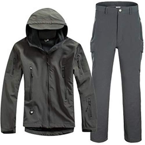 Peau de Requin Chasse Camping en Plein air Coupe-Vent imperméable Polyester Manteaux à Capuche Softshell Veste et Pantalon Set Gray S