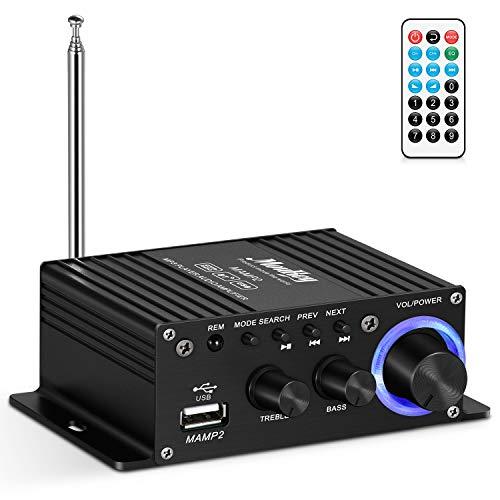 Wireless Audio Amplifier Spitzenleistung 50W, Moukey Audio Leistung Verstärker Dual Kanal Audio Stereo Receiver USB AUX FM für Heimlautsprecher PC Handy TV CD DVD, MAMP2 mit Fernbedienung