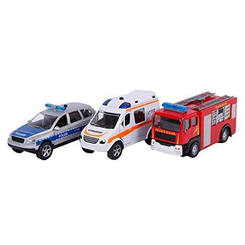 2Play Einsatzfahrzeuge Geschenkset 3fach sortiert (Spritzguss Miniaturfahrzeug, Polizeiauto, Feuerwehrauto und Notarztwagen) - mit Rückzugmotor, Licht und Sound, inkl. Batterie - 510176