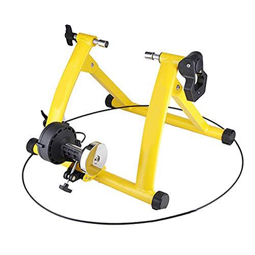 ZZQH Home Trainer Velo Route,Fluide Support D'entraînement De Vélo avec Cadre en Acier Ultra Résistant,Charge Maximale De 135 Kg,pour Route Et Montagne Vélos,Yellow
