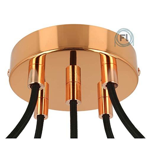 Flairlux Baldachin 5-fach Kupfer zur Montage von Pendelleuchten | Lampenbaldachin für alle Lampen geeignet | zur Lampenaufhängung an der Decke | Deckenrosette 120x25 mm inkl Metall Klemmnippel
