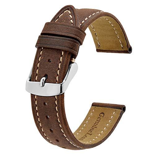 BISONSTRAP Correa de Reloj 22mm, Correa Piel de Cuero Vintage, Marrón Oscuro/Hilo Beige