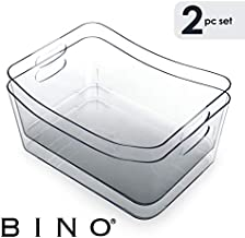 BINO Clear Plastic Storage Bin with Handles - Plastic Storage Bins for Kitchen, Cabinet, and Pantry Organization and Storage - Home Organizers and Storage - Refrigerator and Freezer (2PK- Large)