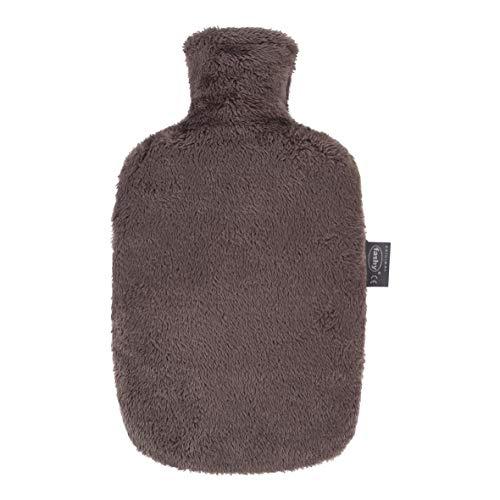 fashy GreenLine Wärmflasche 1,6L mit flauschigen Plüschbezug aus recyceltem Polyester