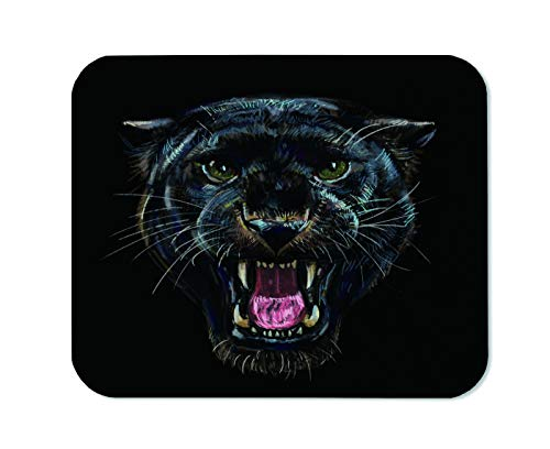 Yeuss Leopard Head Mouse Pad Rectangular Non-Slip Mousepad, Roaring Black Panther On Black Background Digital Painting Gaming Mouse Pads, Black,200mm x 240mm