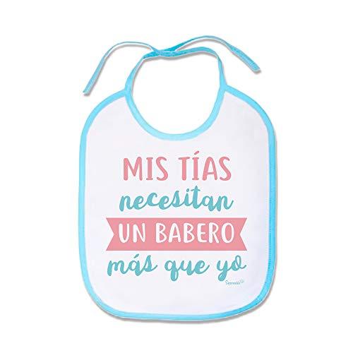 """Supermolon 01768 -""""Mis Tías Necesitan Un Babero Más Que Yo"""" Babero Bebe con Cordones, Azul Celeste, unisex"""